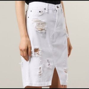 Rag & Bone Distressed Denim Shred White Jeans SZ25
